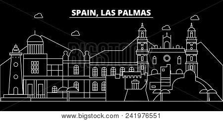 Las Palmas Silhouette Skyline. Spain - Las Palmas Vector City, Spanish Linear Architecture, Building
