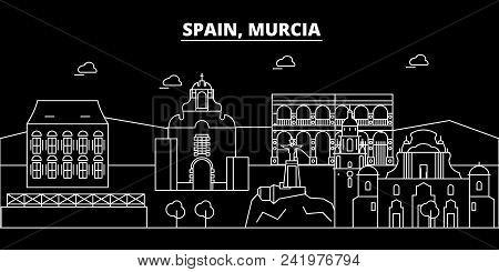 Murcia silhouette skyline. Spain - Murcia vector city, spanish linear architecture, buildings. Murcia line travel illustration, landmarks. Spain flat icon, spanish outline design banner poster