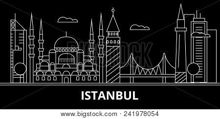 Istanbul Silhouette Skyline. Turkey - Istanbul Vector City, Turkish Linear Architecture, Buildings.