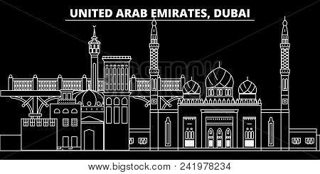 Dubai Silhouette Skyline. United Arab Emirates - Dubai Vector City, Arab Linear Architecture, Buildi