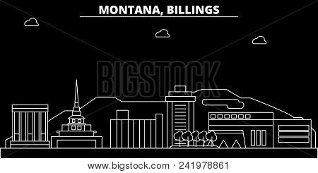 Billings Silhouette Skyline. Usa - Billings Vector City, American Linear Architecture, Buildings. Bi