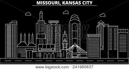 Kansas City Silhouette Skyline. Usa - Kansas City Vector City, American Linear Architecture, Buildin