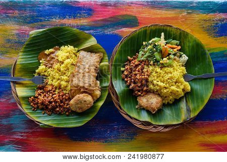 Vegan Or Vegetarian Restaurant Dishes Side View, Hot Spicy Indian Rice In Bowl. Healthy Traditional