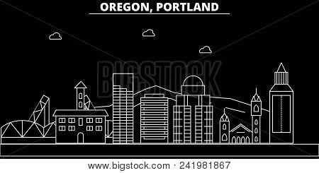 Portland City Silhouette Skyline. Usa - Portland City Vector City, American Linear Architecture, Bui