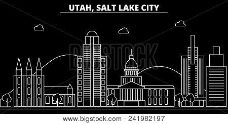 Salt Lake City Silhouette Skyline. Usa - Salt Lake City Vector City, American Linear Architecture, B