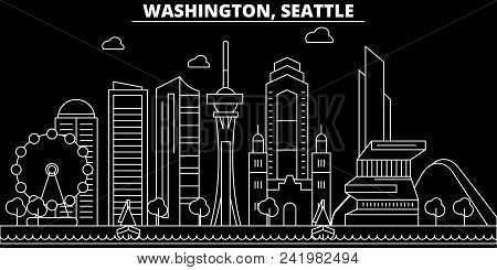 Seattle Silhouette Skyline. Usa - Seattle Vector City, American Linear Architecture, Buildings. Seat