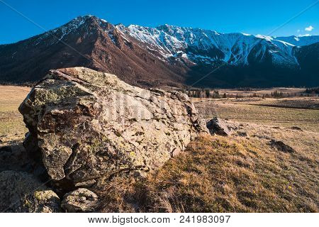 Hill Textured Stones On The Background Of The Altai Mountain Valley. Altai Mountains Landscape.