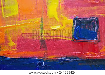 Smears Of Blue, Red And Yellow Paint On Canvas, A Work Palette Of The Artist.