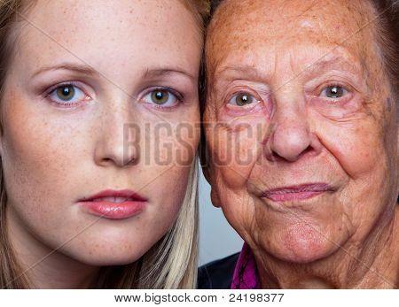 Porträt von einem jungen und eine alte Frau