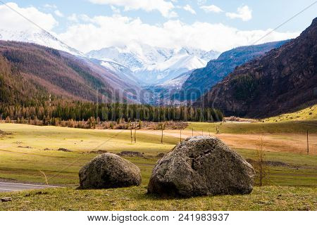 Two Large Stones In The Middle Of The Altai Mountain Valley. Altai Mountains Landscape.