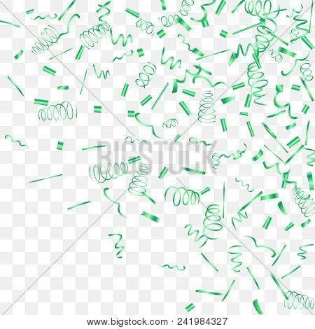 A Bright Shine Of Confetti. Abstract Background With Falling Green Tiny Confetti. Luxury Festive Bac