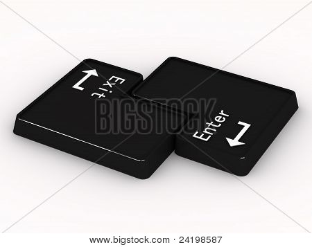 Two Black Buttons Enter And Exit On White Background. 3D