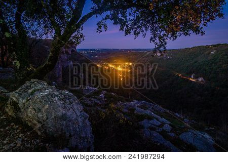 Valley Of Autoire At Night In The Causses Du Quercy Region In France