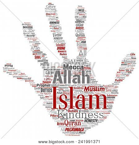 Conceptual islam, prophet, mosque hand print stamp word cloud isolated background. Collage of muslim, ramadam, quran, pilgrimage, allah, duties, art, calligraphy, oriental, tradition concept