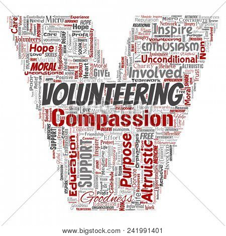 Conceptual volunteering, charity, humanitarian letter font V red word cloud isolated background. Collage of selfless, support, philanthropy, nonprofit,  goodness, togetherness, giving concept