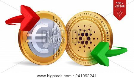 Cardano To Euro Currency Exchange. Cardano. Euro Coin. Cryptocurrency. Golden Coins With Cardano And