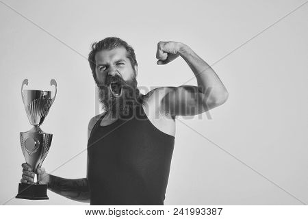 Face Boy For Magazine Cover. Mqan Face Portrait In Your Advertisnent. Bearded Man, Long Beard, Bruta