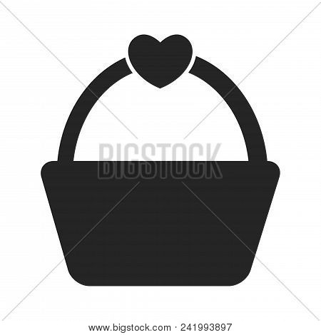 Picnic Basket With Heart Icon Simple Vector Sign And Modern Symbol. Picnic Basket With Heart Vector