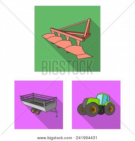 Agricultural Machinery Flat Icons In Set Collection For Design. Equipment And Device Vector Symbol S