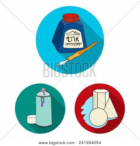 Painter And Drawing Flat Icons In Set Collection For Design. Artistic Accessories Vector Symbol Stoc