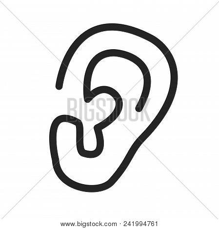 Ear Lobe Icon Simple Vector Sign And Modern Symbol. Ear Lobe Vector Icon Illustration, Editable Stro