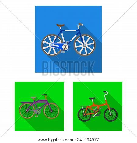 Various Bicycles Flat Icons In Set Collection For Design. The Type Of Transport Vector Symbol Stock