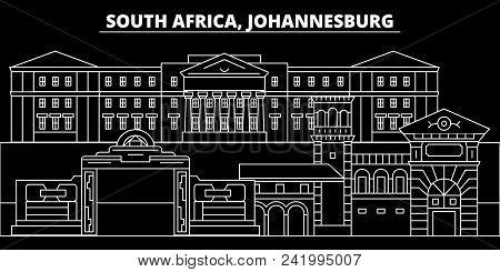 Johannesburg Silhouette Skyline. South Africa - Johannesburg Vector City, South African Linear Archi