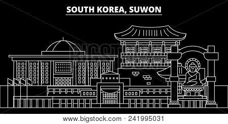 Suwon Silhouette Skyline. South Korea - Suwon Vector City, Korean Linear Architecture, Buildings. Su