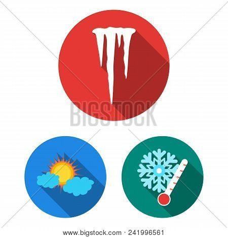 Different Weather Flat Icons In Set Collection For Design.signs And Characteristics Of The Weather V