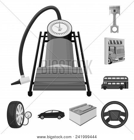 Car, Lift, Pump And Other Equipment Monochrome Icons In Set Collection For Design. Car Maintenance S