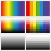 Shade tabs. Set of color gradients, grayscales and saturation spectrums in different gradations from light to dark - work tool for graphic design artists - vector illustration. poster