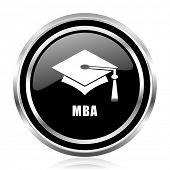Mba black silver metallic chrome border glossy round web icon poster