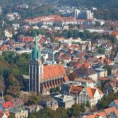 Frauenkirche (Church of Our Lady) in Ulm Germany. View from the top of Ulm Minster the world's tallest church. poster