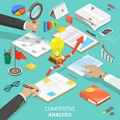 Flat isometric vector concept of competitive analysis, company marketing plan, competitors evaluating. poster