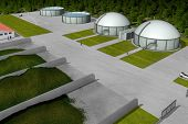 Biogas plant from aerial perspective, 3D Rendering poster