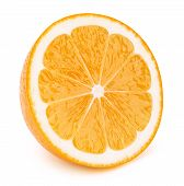 Perfectly retouched sliced half of orange fruit solated on the white background with clipping path. One of the best isolated oranges halves slices that you have seen. poster
