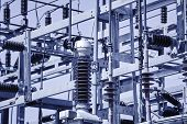 Power station structure detail. Energy plant. Electrical production. High voltage poster