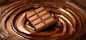 Chocolate. Bar of chocolate on melted liquid premium dark chocolate with a whisk. Close up of liquid hot swirl. Confectionery. confectioner prepares dessert poster