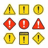 Exclamation mark beware icons. Attention and caution signs. Hazard warning vector symbol isolated. Illustration of danger and beware symbol, attention risk poster