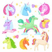 Unicorn vector cartoon kids character of girlish horse with horn and colorful ponytail in love illustration set of fantasy child ponytailed animal with wings isolated on white background. poster
