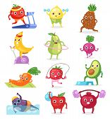 Fruits sportsman vector fruity expression of sporting cartoon character workout and doing fitness exercises illustration set of vegetables with funny apple banana in sport isolated on white background. poster