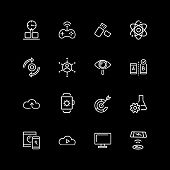 Set of digital device, gamepad line icons. Cloud storage, smartphone, smartwatch. Modern technology concept. Vector illustration can be used for topics like data exchange, multimedia poster