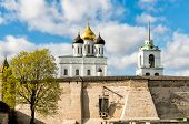 View of Holy Trinity Cathedral in the Pskov Krom or Pskov Kremlin, Russia poster