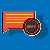 Sticker Spam Email Warning Window Appear On Laptop Screen. Concept of virus, piracy, hacking and security. Envelope with spam. Website banner of e-mail protection, anti-malware software. Flat vector. poster