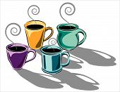 Four coffee cups in scaleable vector format poster
