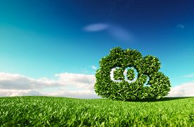 Carbon Dioxide Emissions Control Concept. 3d Rendering Of Co2 Cloud On Fresh Spring Meadow With Blue