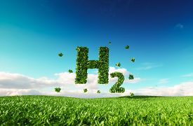 Eco Friendly Clean Hydrogen Energy Concept. 3d Rendering Of Hydrogen Icon On Fresh Spring Meadow Wit