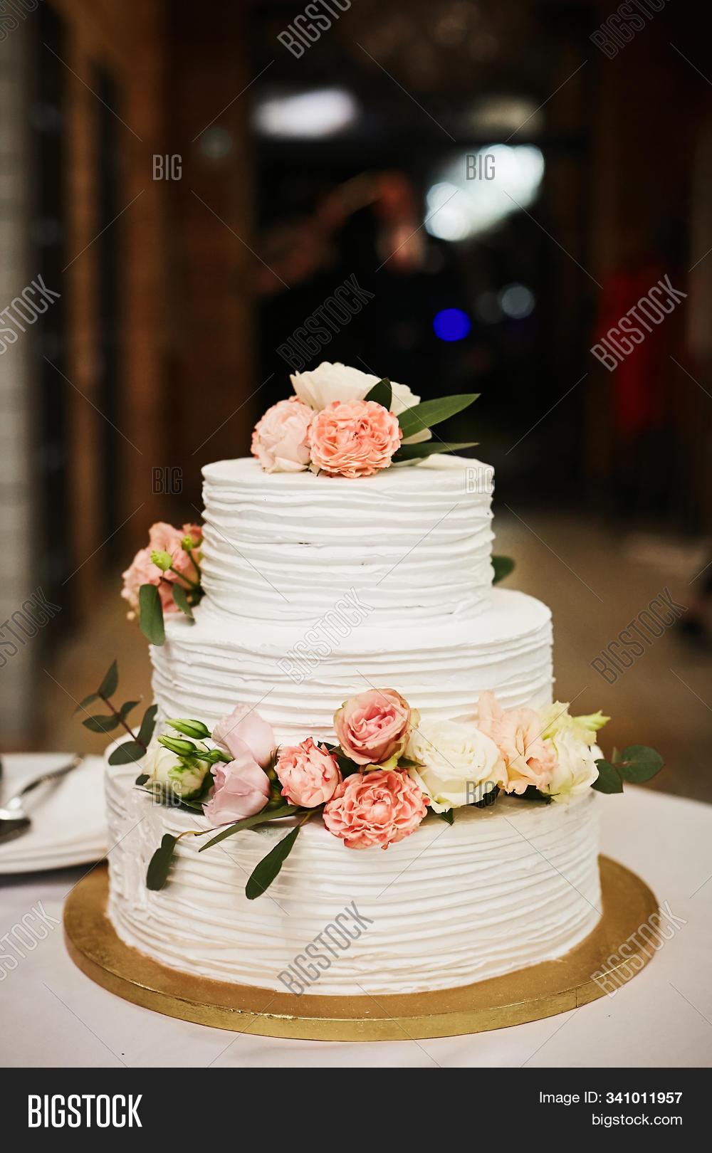 Outstanding White Wedding Cake Image Photo Free Trial Bigstock Funny Birthday Cards Online Inifodamsfinfo
