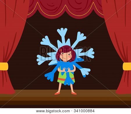 Vector Girl In A School, Play On Stage. Illustration Of Childrens Clubs, Acting. Character On The Sc