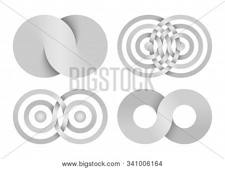 Set Of Infinity Signs Made Of Combined Disks And Rings. Stylized Symbols Of Interference Concentric